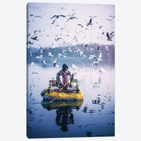 Raftsman Of Yamuna Canvas Print #ASR24} by Ashraful Arefin Canvas Art Print