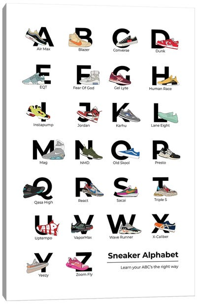 Sneaker Alphabet Canvas Art Print