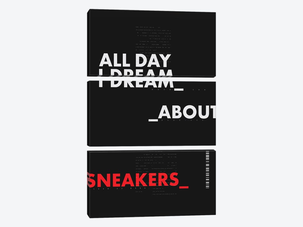 All Day I Dream About Sneakers I by avesix 3-piece Canvas Print