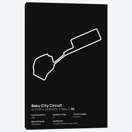 F1- Baku City Circuit Canvas Print #ASX204} by avesix Canvas Art Print