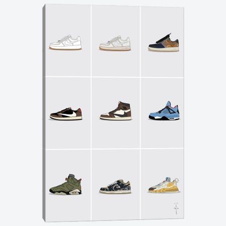 Travis Scott Sneaker Collection Canvas Print #ASX25} by avesix Canvas Art Print