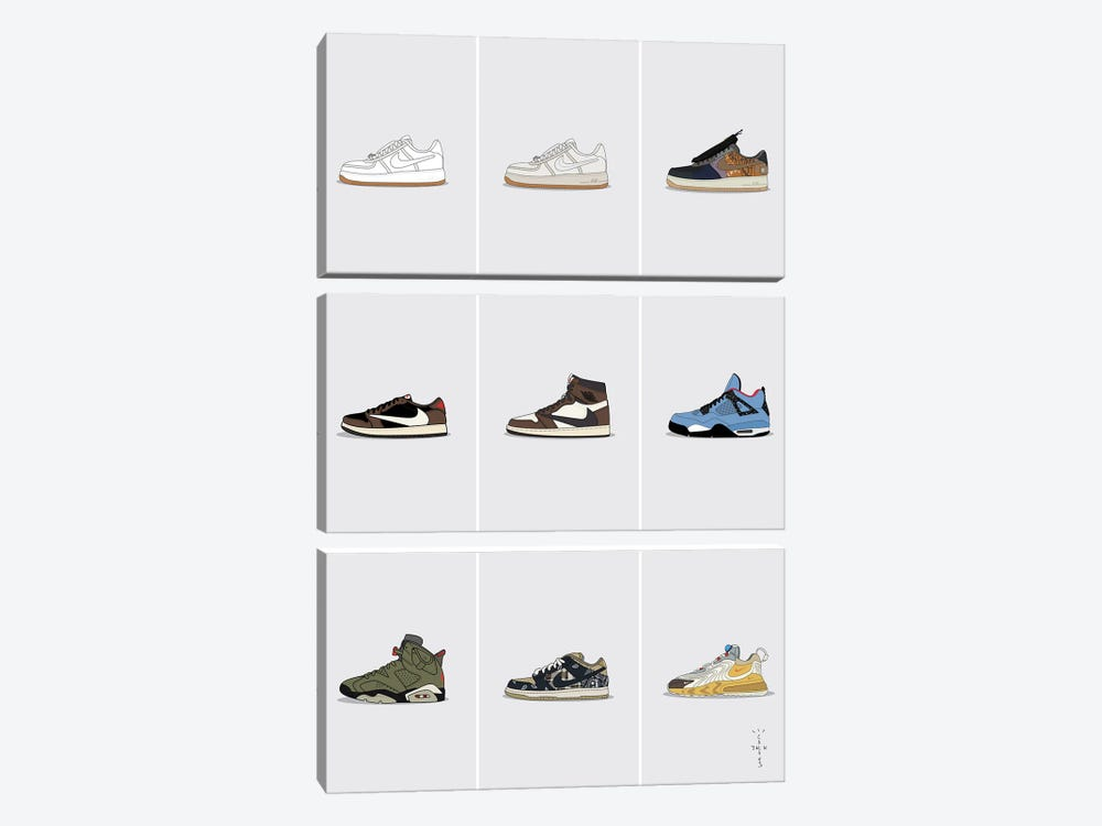 Travis Scott Sneaker Collection by avesix 3-piece Canvas Print