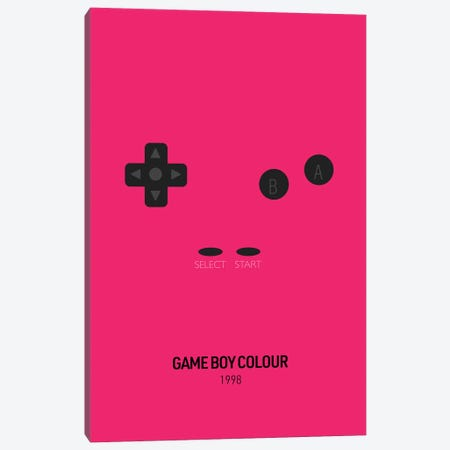 Minimalist Game Boy Colour (Fuchsia) Canvas Print #ASX269} by avesix Canvas Artwork
