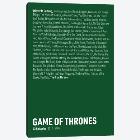 Game Of Thrones Episodes (Green) Canvas Print #ASX287} by avesix Canvas Art Print