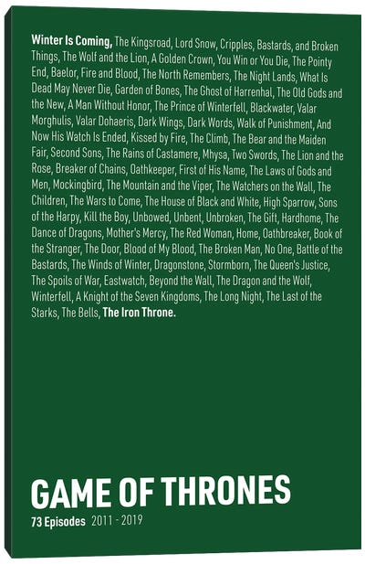 Game Of Thrones Episodes (Green) Canvas Art Print