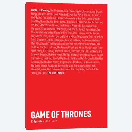 Game Of Thrones Episodes (Red) Canvas Print #ASX288} by avesix Canvas Art