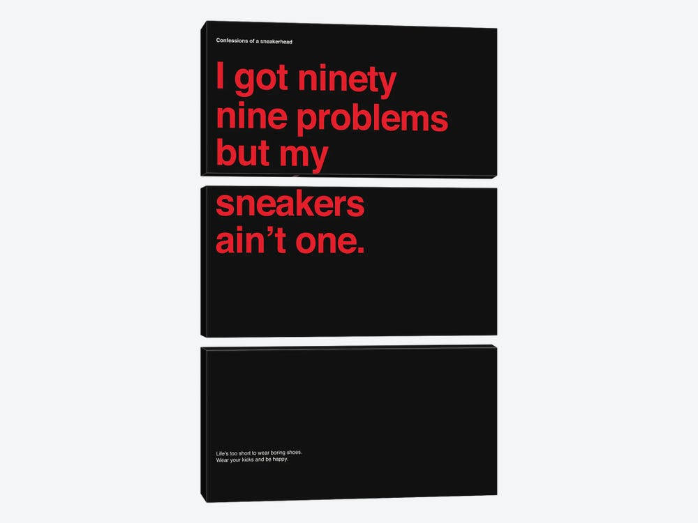 99 Problems But Sneakers Ain't One II by avesix 3-piece Canvas Wall Art