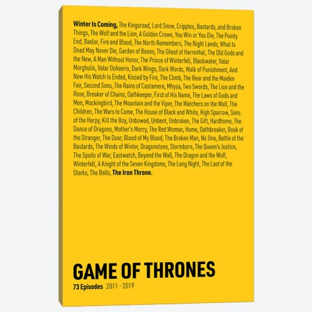 Game Of Thrones Episodes (Yellow) Canvas Print #ASX290} by avesix Art Print