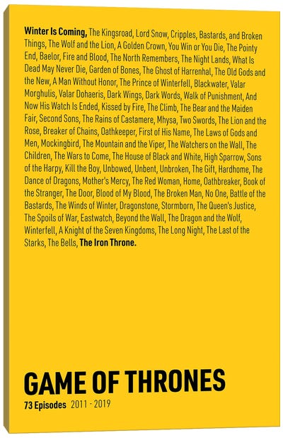 Game Of Thrones Episodes (Yellow) Canvas Art Print