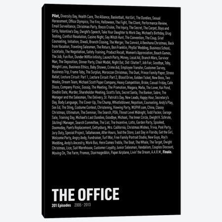 The Office Episodes (Black) Canvas Print #ASX292} by avesix Canvas Art Print
