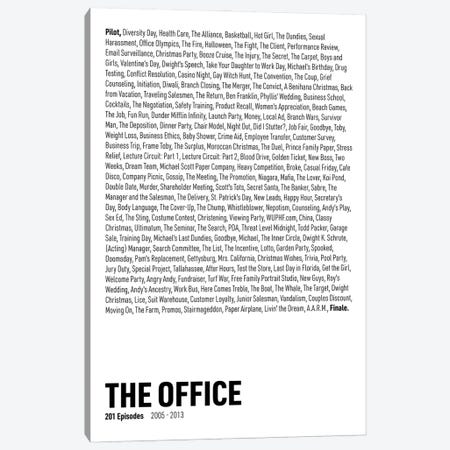 The Office Episodes (White) Canvas Print #ASX294} by avesix Canvas Art
