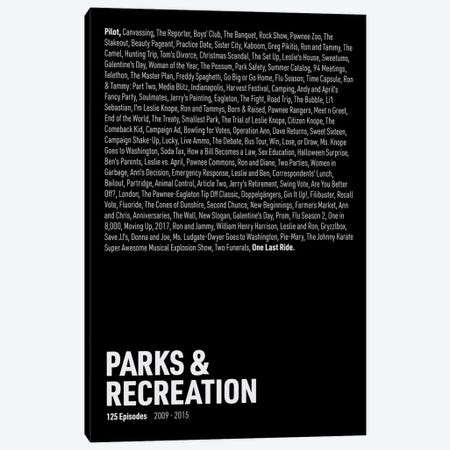 Parks & Recreation Episodes (Black) Canvas Print #ASX298} by avesix Canvas Art Print