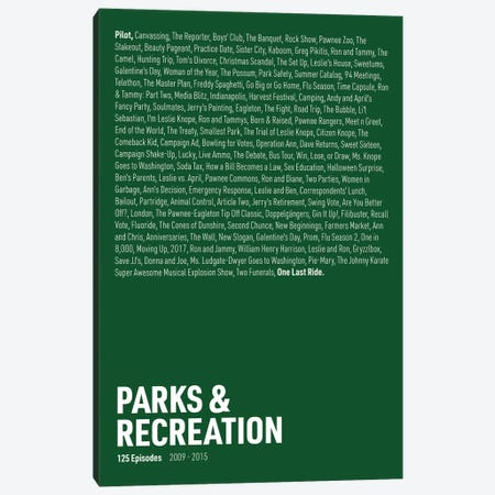 Parks & Recreation Episodes (Green) Canvas Print #ASX299} by avesix Art Print