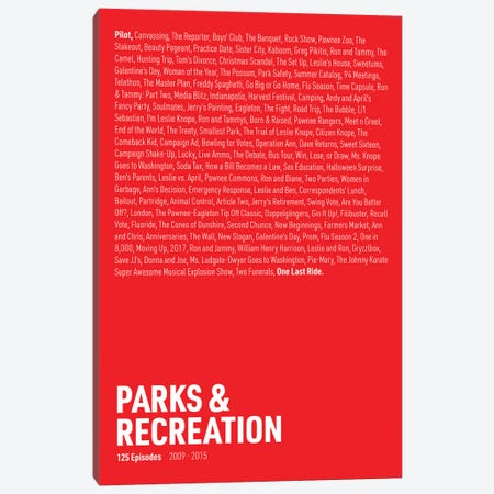 Parks & Recreation Episodes (Red) Canvas Print #ASX300} by avesix Canvas Art Print