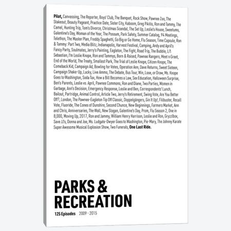 Parks & Recreation Episodes (White) Canvas Print #ASX301} by avesix Canvas Art Print