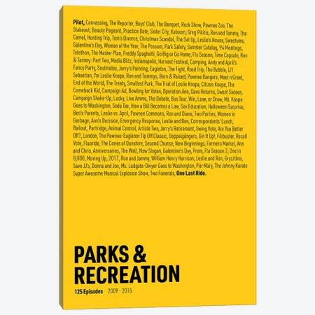 Parks & Recreation Episodes (Yellow) Canvas Print #ASX302} by avesix Canvas Print