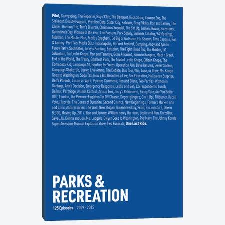 Parks & Recreation Episodes (Blue) Canvas Print #ASX303} by avesix Canvas Art Print