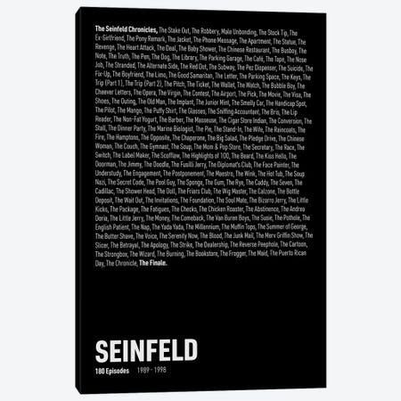 Seinfeld Episodes (Black) Canvas Print #ASX310} by avesix Canvas Artwork