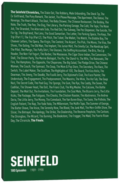 Seinfeld Episodes (Green) Canvas Art Print