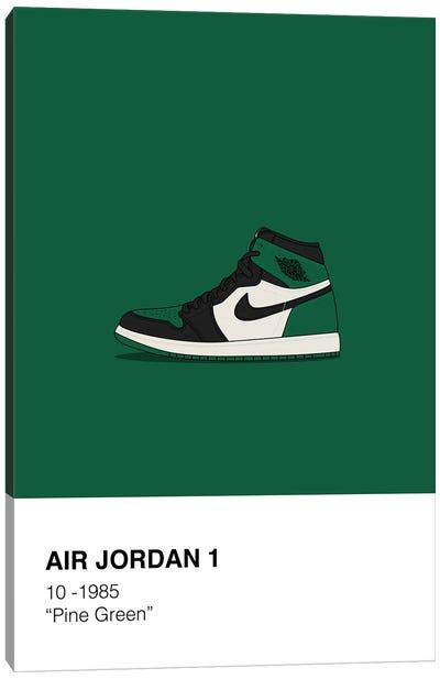 Air Jordan 1 Polaroid (Green) Canvas Art Print