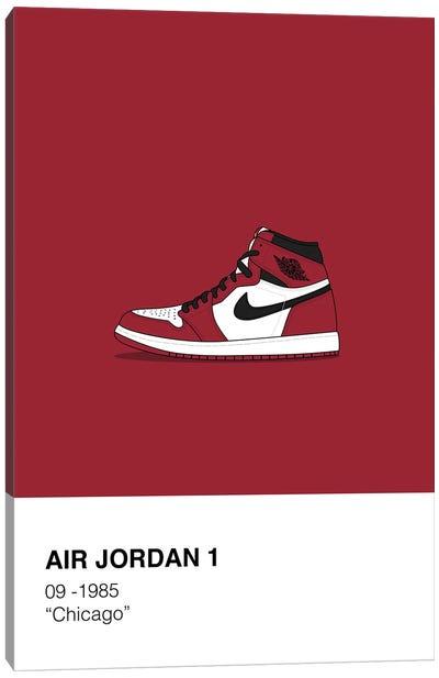 Air Jordan 1 Polaroid (Red) Canvas Art Print