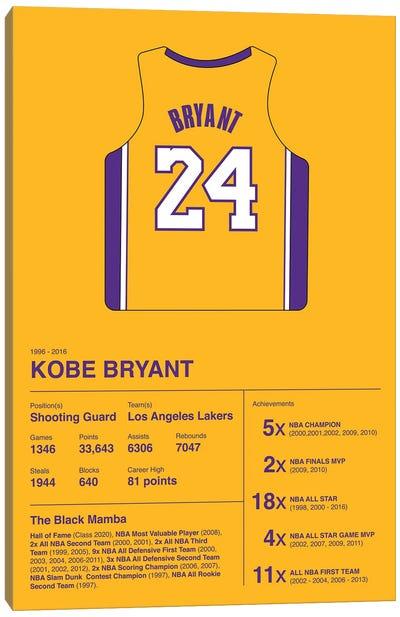Kobe Bryant Career Stats Canvas Art Print
