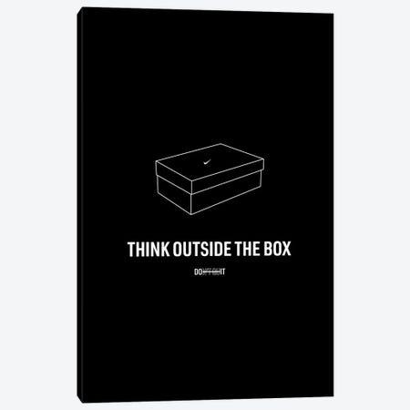 Think Outside The Box (Black Edition) Canvas Print #ASX58} by avesix Art Print