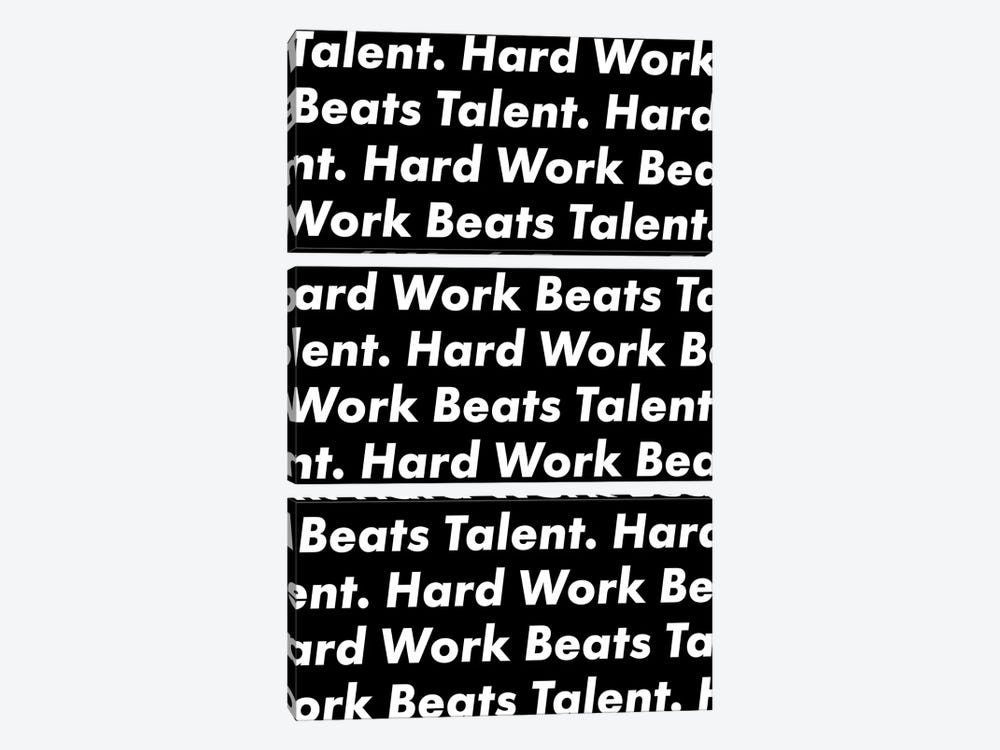 Hardwork Beats Talent (Black Edition) by avesix 3-piece Canvas Wall Art
