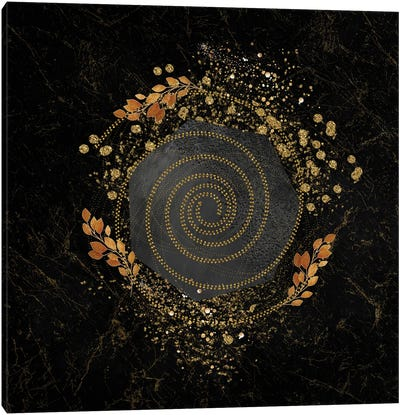 Glam Golden Spirals Geo Abstract III - With Leaf Accent Canvas Art Print