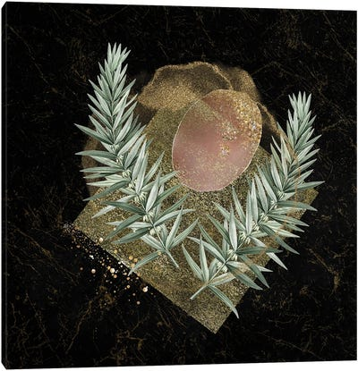 Glam Gold And Blush Pink Geo Abstract IV - With Leaf Accent Canvas Art Print
