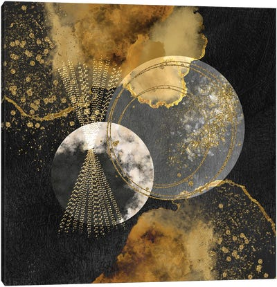Glam Golden Spirals Geo Abstract III Canvas Art Print