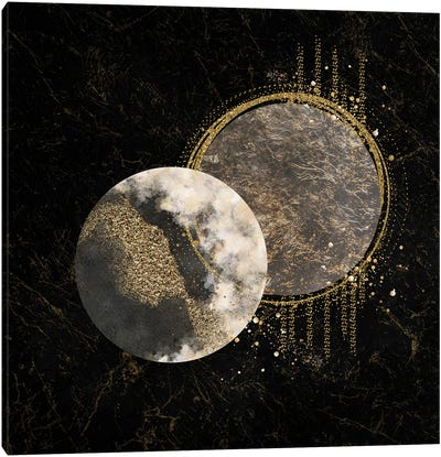 Glam Geo Marble And Splashes Of Gold Canvas Art Print
