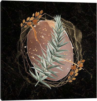 Glam Gold And Blush Pink Geo Abstract VI - With Leaf Accent Canvas Art Print