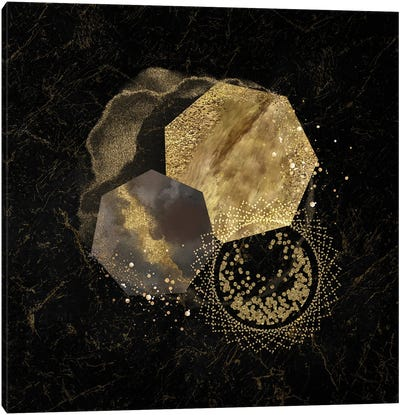 Glam Golden Spirals Geo Abstract IV Canvas Art Print