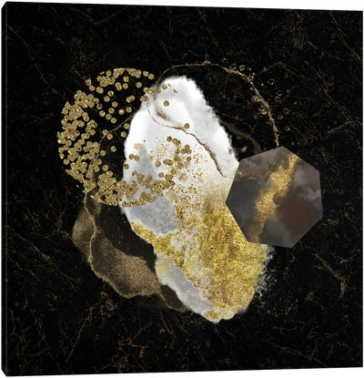 Glam White And Gold Marble Geo Abstract Canvas Art Print