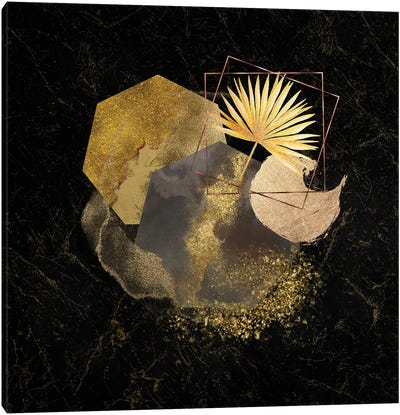 Glam Gold And Blush Pink Geo Abstract I - With Gold Leaf Accent Canvas Art Print