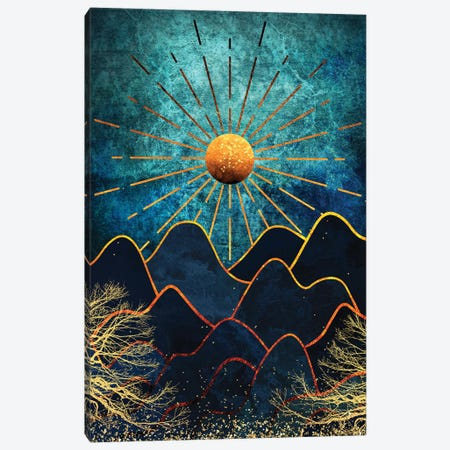 Whimsical Mountains And The Golden Forest - Teal And Gold Canvas Print #ASY23} by Artsy Bessy Art Print