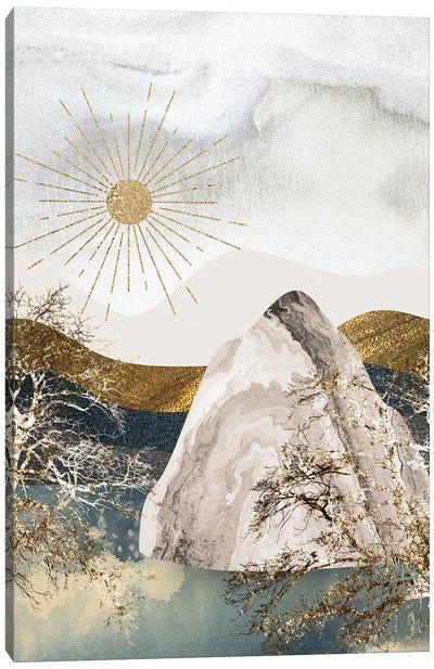 The Iceberg And The Midnight Sun - A Dreamy Winter Night Canvas Art Print