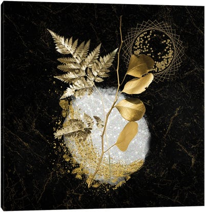 Sparkling White Quartz Accented By Golden Metallic Leaves Canvas Art Print
