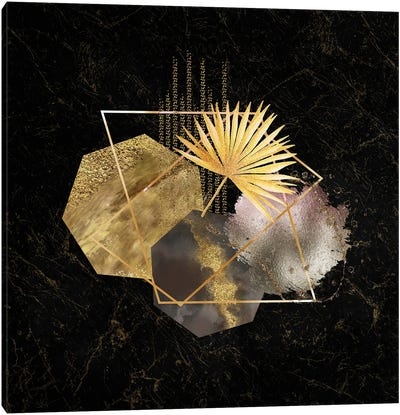 Glam Gold And Blush Pink Geo Abstract II - With Gold Leaf Accent Canvas Art Print