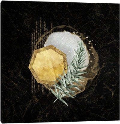 Glam White And Gold Geo Abstract With Leaf Accent Canvas Art Print
