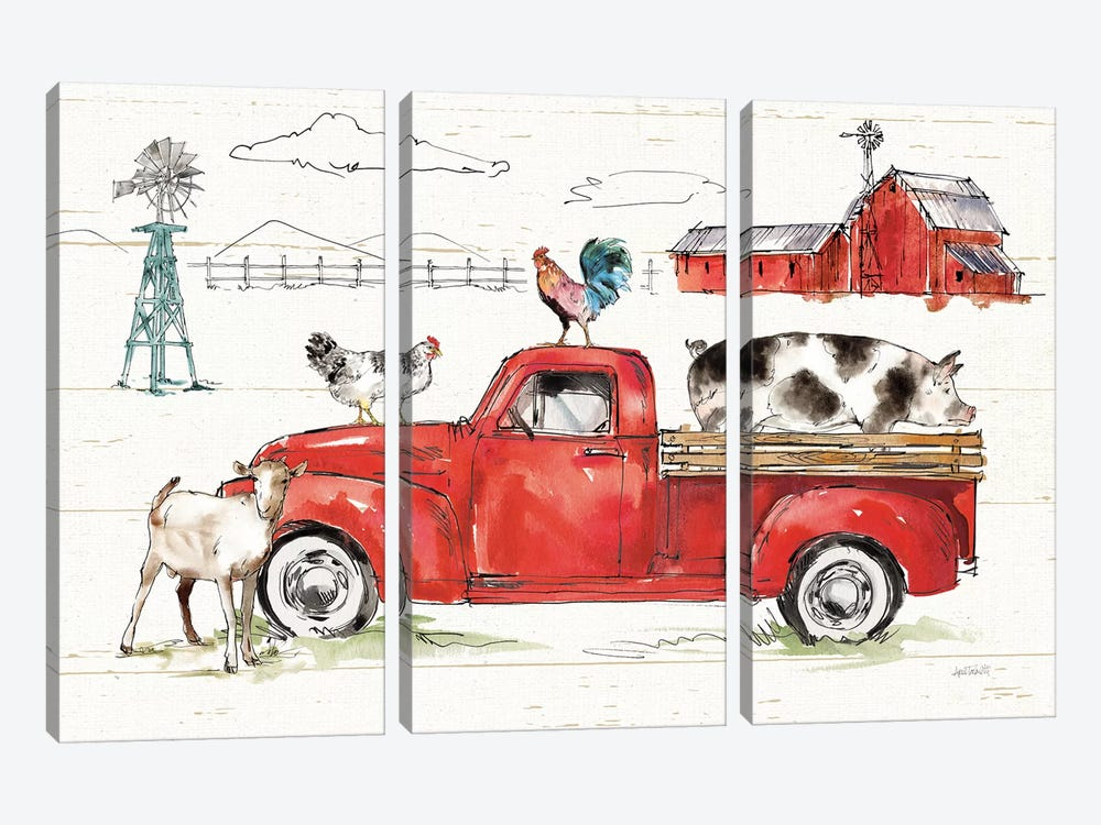 Down on the Farm II No Words by Anne Tavoletti 3-piece Canvas Art Print