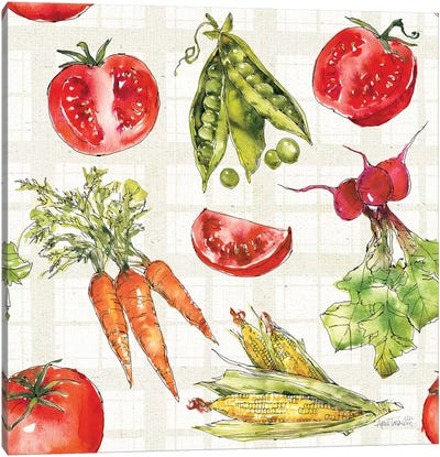 Veggie Market Pattern IA Canvas Art Print