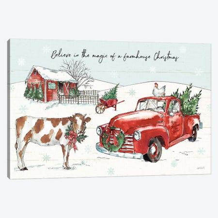 Holiday on the Farm II - Believe Canvas Print #ATA12} by Anne Tavoletti Canvas Art Print