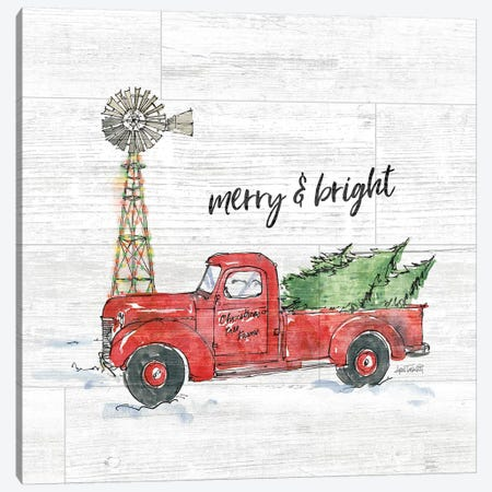 Country Christmas IV Merry and Bright Shiplap Canvas Print #ATA138} by Anne Tavoletti Art Print