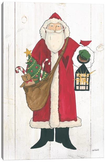 Vintage St Nick I no Words on White Wood Canvas Art Print