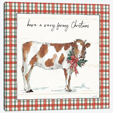 Holiday on the Farm III - Plaid Canvas Print #ATA13} by Anne Tavoletti Art Print