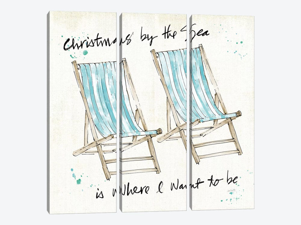 Beach Divas XI Christmas by Anne Tavoletti 3-piece Canvas Artwork