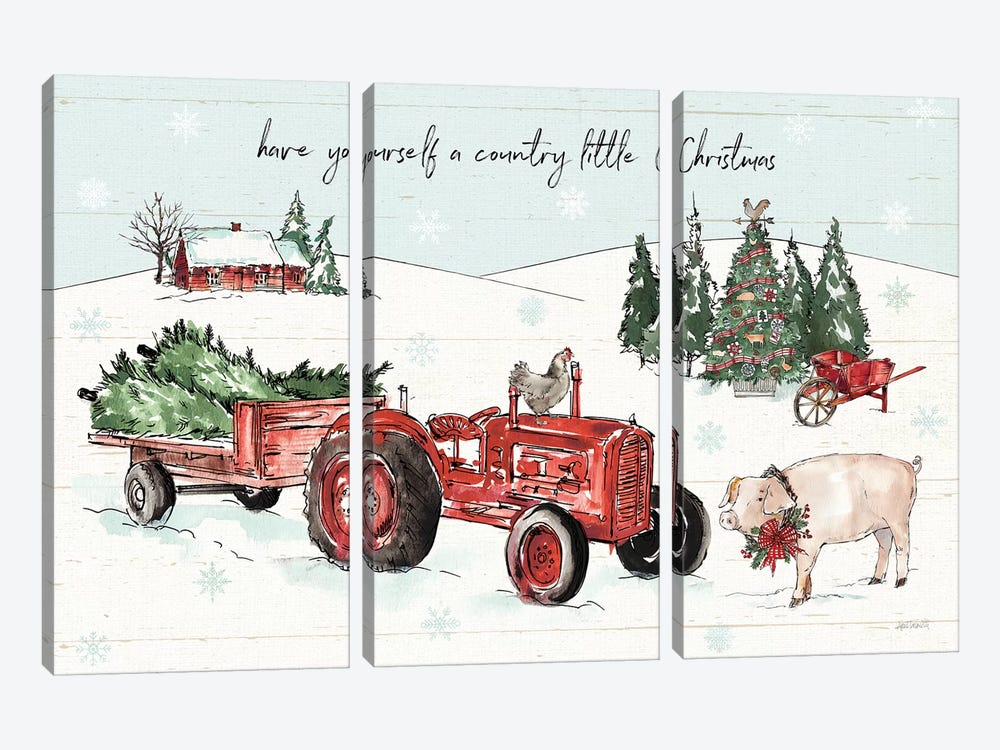 Holiday on the Farm I by Anne Tavoletti 3-piece Canvas Art