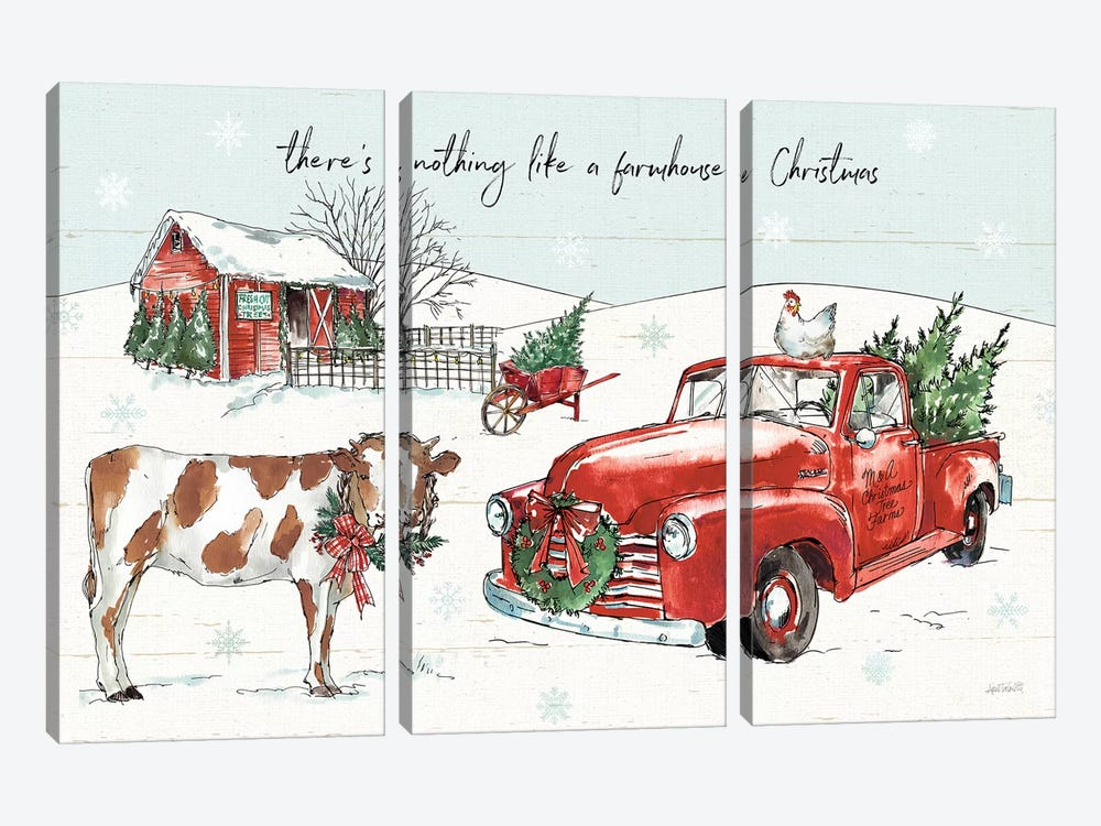 Holiday on the Farm II 3-piece Canvas Wall Art